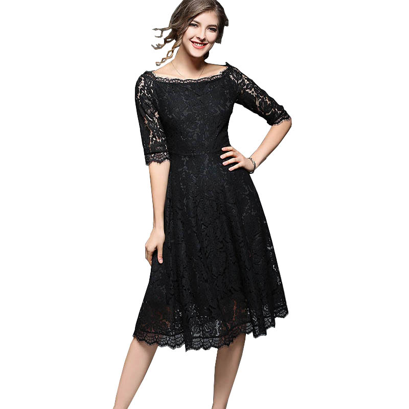 2017 Vintage Dresses 50s 60s Lady Slash Neck Half Sleeve