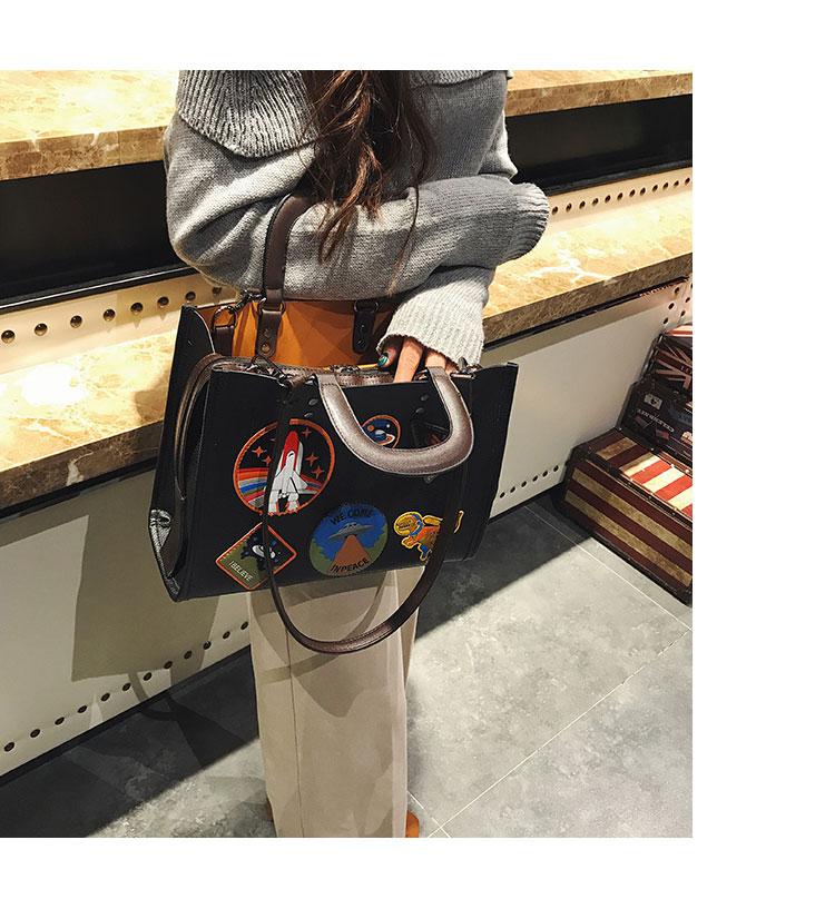 Women Rocket Space Tote Bag Pu Leather Handbag 2018 Autumn And Winter Black Blue Badge Lady Hand Bag Casual Single Shoulder Bag 9