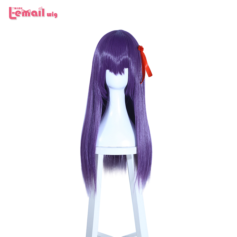 L-email Wig Fate EXTRA Sakura Matou Cosplay Wigs 60cm Straight Purple Heat Resistant Synthetic Hair Perucas Cosplay Wig