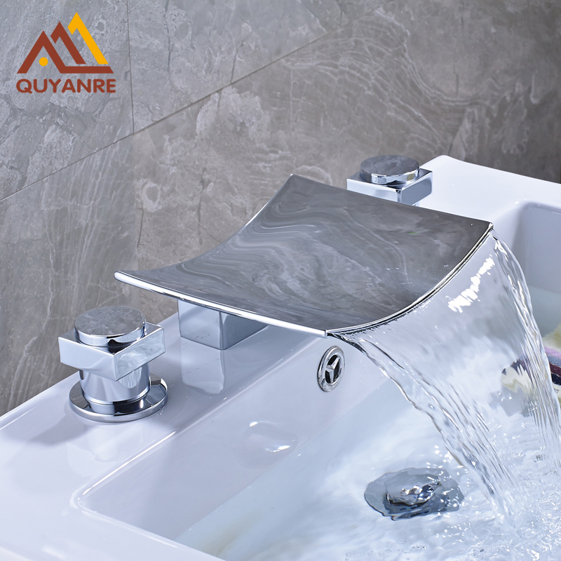 Chrome Finish Basin Sink Mixer Tap Waterfall Spout Dual Handles Deck Mounted Bathroom Brass Faucet 2016 new waterfall spout deck mount basin sink faucet dual brass handles mixer tap 3 install hole