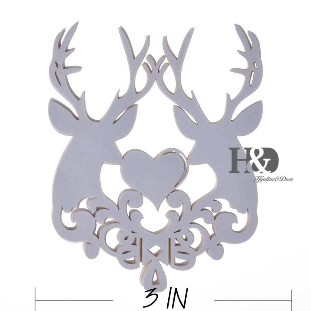 DIY 120PCS Laser Cut White Christmas Deer Wine Glass Paper Cards Escort Card Cup Card Christmas Party Wedding Favors Decoration