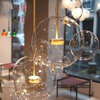 Nordic личность пузырь мяч стекло подвесной светильник Nordic дизайнер подвесное освещение светильники Гостиная Спальня