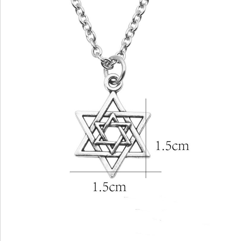 Steampunk Hexagram Pendant Necklace Tiny Silver Hollow Inverted Triangle Star of David Pendants Necklaces For Women Men Collares in Pendant Necklaces from Jewelry Accessories