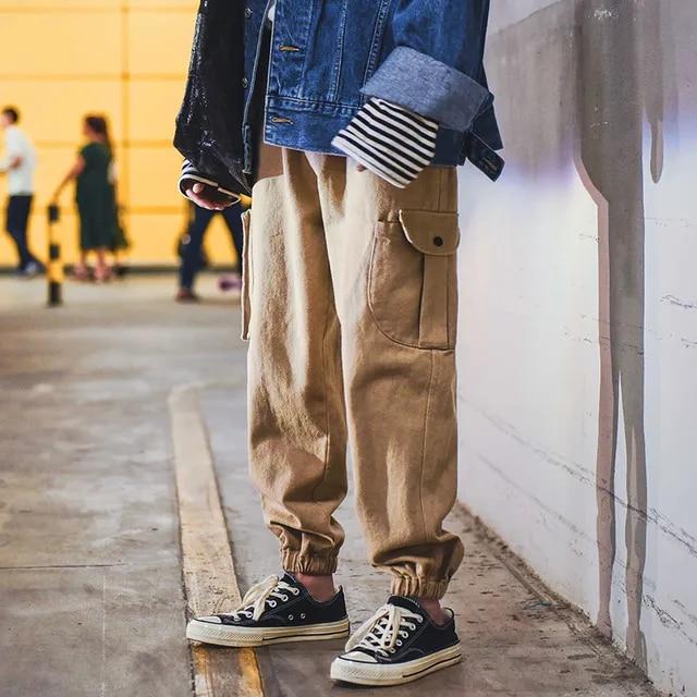 Men High Street Fashion Casual Cargo Pant Male Japan Style Loose Harem Trousers Streetwear Hip Hop Joggers Sweatpants