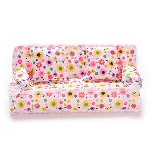 Image 1 - 1 Bộ Búp Bê Đồ Chơi Mini Nhà Búp Bê Đồ Nội Thất Hoa Vải Sofa Giường Với 2 Full Đệm Cho S Phụ Kiện Nóng bán