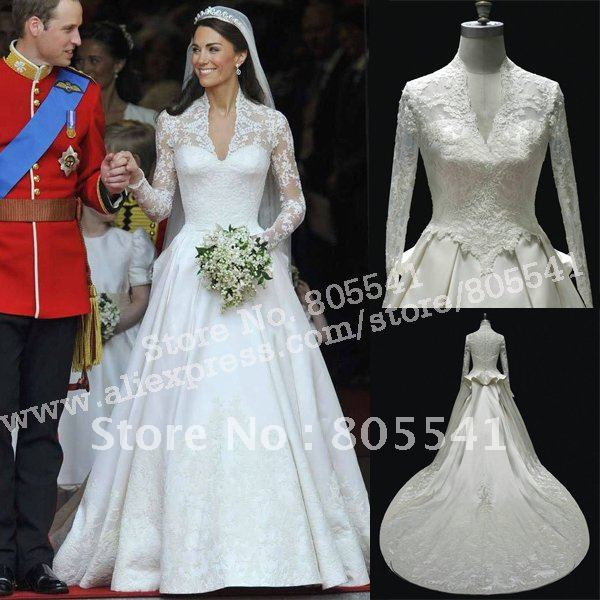 Free shipping royal wedding prince william and princess kate royal free shipping royal wedding prince william and princess kate royal wedding dress wdd01210 in wedding dresses from weddings events on aliexpress junglespirit Images