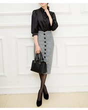 Autumn Winnter Chic High Waist Women's Single Breasted Pure Color Formal Pencil Mid Claf  Skirt