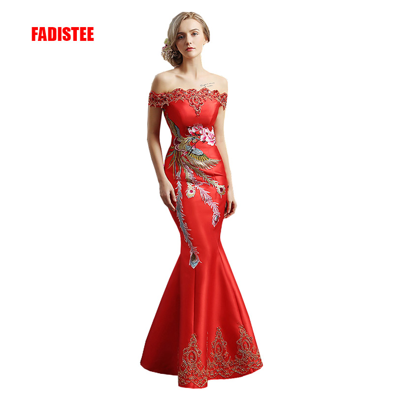 FADISTEE New arrival elegant party dress evening dress Vestido de Festa appliques crystal long style gown