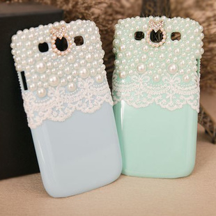 white lace and bling pearls case for Samsung Galaxy s3 siii i9300 protective cover by handmade [JCZL DIY Shop]
