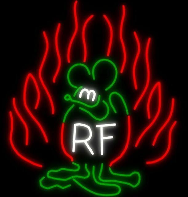 Custom Rat Fink RF Glass Neon Light Sign Beer Bar