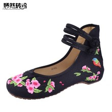 Chinese Traditional Embroidery Women Canvs Shoes Casual Floral Ladies Shoe New Women Flats Dance Single Shoes(China)