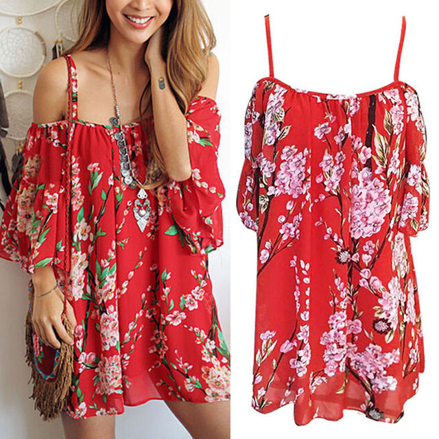 d1d4e394f148c Chiffon Women Floral Beach Cover Up Off Shoulder Bikinis Cover-Ups Beachwear  Summer Dress Sundress Bathing Suit Swimsuit Red
