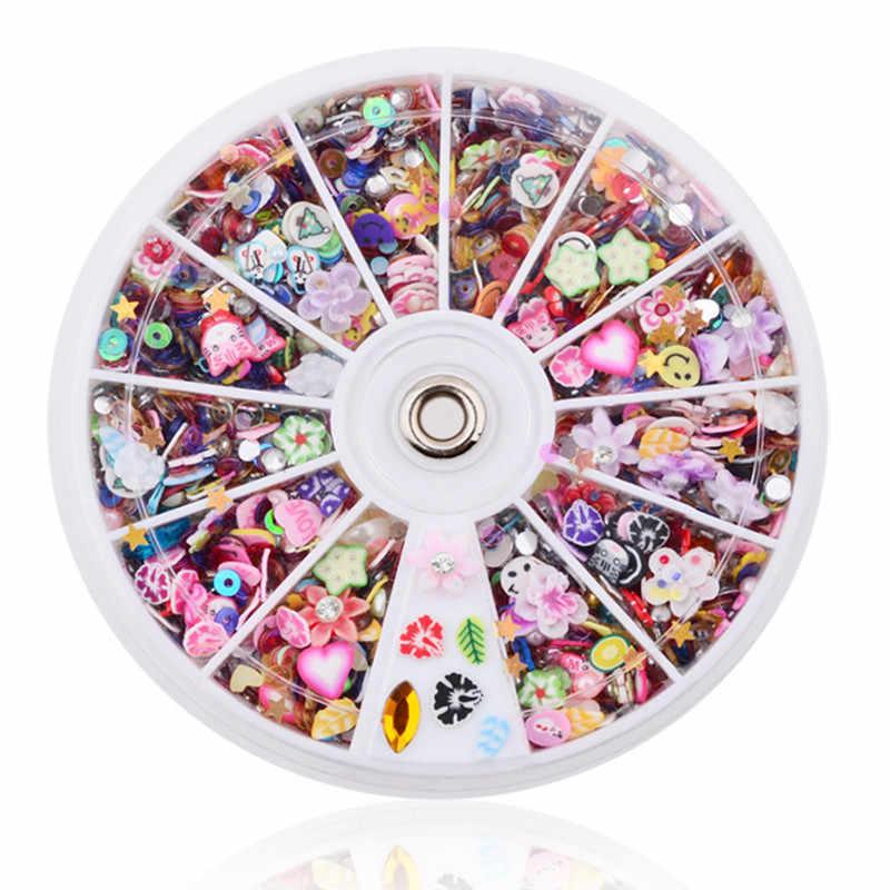 Caixa de Decorações de unhas Turntables Soft Cerâmica Selo de Resina Diamante 12 Armário de Unha Unhas Decorativas Unhas Decorativas Rodas 1 Caixa