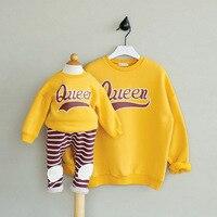 韓国スタイルママと赤ちゃん冬ベルベットパーカー女の子トップス少年ブラウスシャツ母息子衣装家族マッチング娘