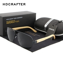 HDCRAFTER Cool Brand Designer Sun Glasses for Women Bamboo Leg Metal Frame Sunglasses Men Women Wooden Sunglass 2017