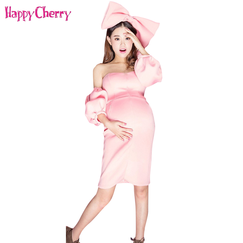 Maternity Graceful Dress Fashion Tube Top Dress for Pregnant Women Photography Props Baby Shower Gift with Headwear Cute Costume graceful sleeveless pointelle solid color dress for women