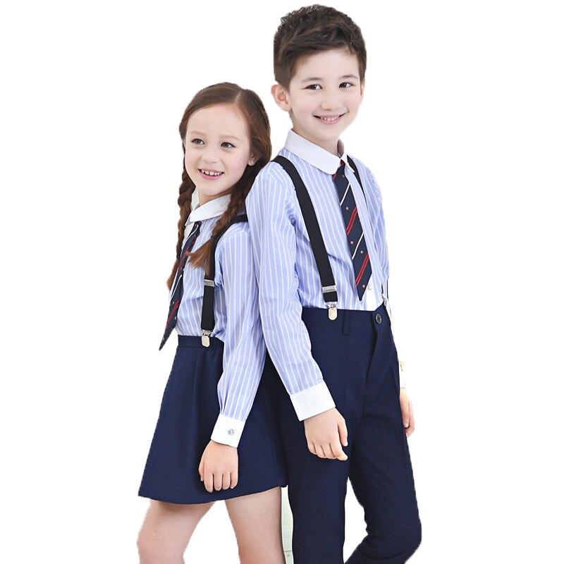 6c7010611d Boys Dress Suit School Uniform Kindergarten Chorus Performance Clothing  Sets Kids Striped Shirts Pants Strap Tie 4PCS Outfits