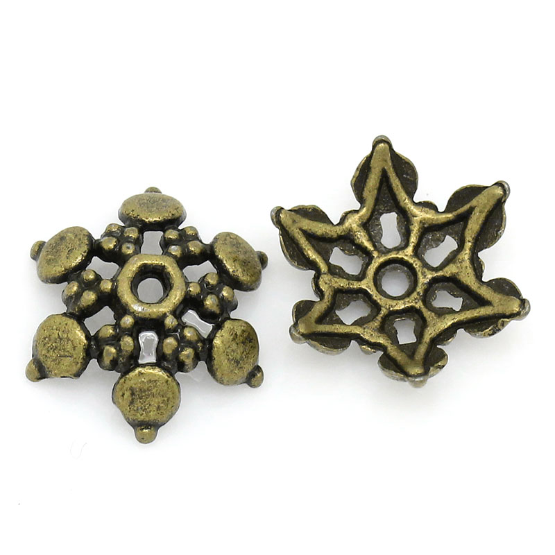 Zinc Metal Alloy Beads Caps Flower Antique Bronze (Fits 14mm Beads) 12mm( 4/8