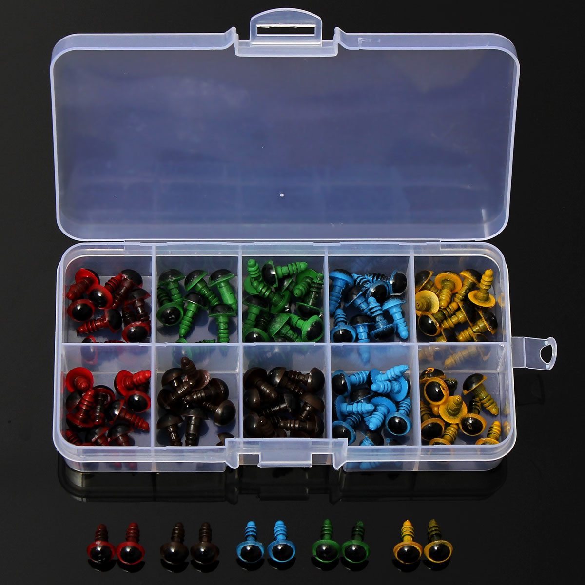 Wholesale 100 Pcs 50 Pairs 5 Colors Mix 8mm Plastic Safety Eyes Box for Teddy Bear