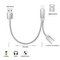 ACCGUYS Casque Audio Adaptateur Câble pour iPhone 8 7 Plus X USB + 8 Pin 2 en 1 câble de recharge pour iPhone à Casque Adaptateur cordon