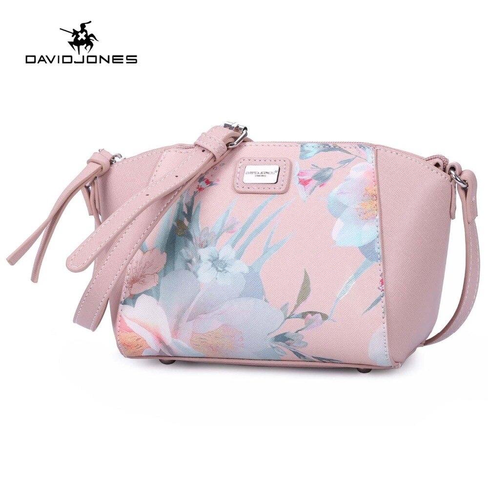 DAVIDJONES women handbags pu leather female shoulder bags small lady flower messenger bag girl brand crossbody bag drop shipping