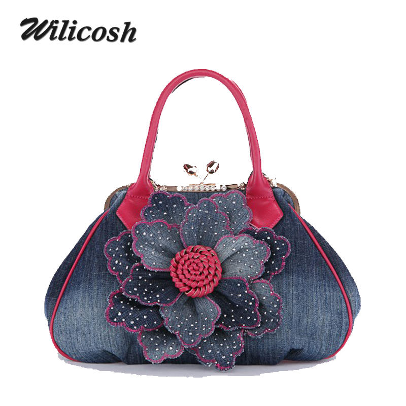 ФОТО Wilicosh 2016 European Style Women Handbag Flower Patchwork Women Bag PU Mix Canvas Messenger Bag Famous Brand Women Tote WL044