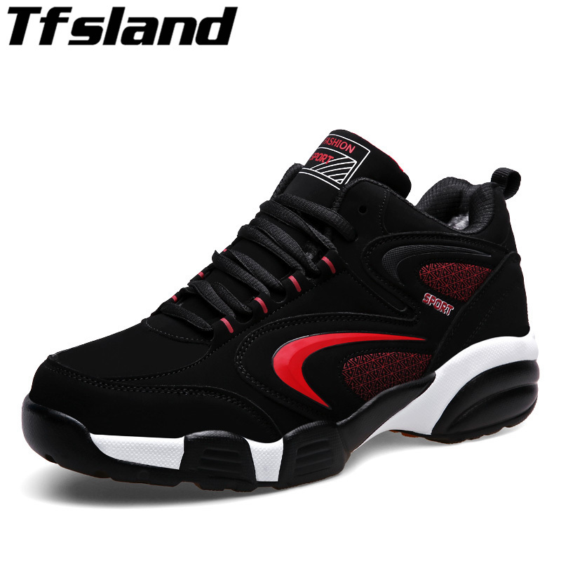 2018 Tfsland Men Women Winter Thermal Sports outdoor Shoes Brands Warm Running shoes Black Fur Sport Trainers Leather Sneakers