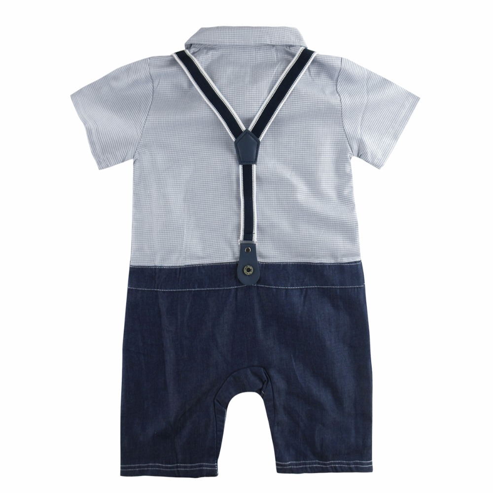 Baby Boy Romper Newborn Gentleman Outfits with Braces and Bowtie ...
