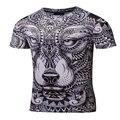 Camisa de compressão de 2017 listagem do novo Totem do Lobo impressão 3D dos homens T-shirt da Aptidão Quick-secagem-manga curta Calças Justas