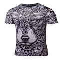 Compression Shirt 2017 new listing Men's Wolf Totem 3D printing Fitness T-shirt Quick-drying short-sleeved Tights