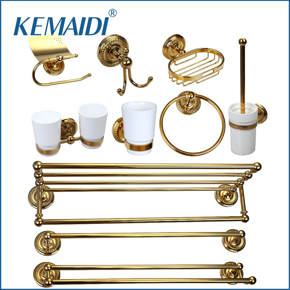KEMAIDI Luxury Bathroom Copper Brasss Bathroom Shelf&Soap Dish&Toilet Holder&Tooth Brush Holder Bath Hardware Sets Accessories