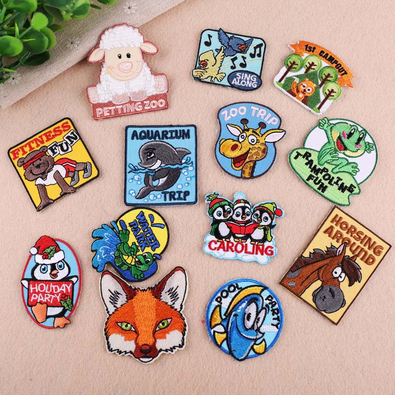 Colife Cartoon Animal Patches Iron On Transfers DIY Accessory Decoration Print On T-shirt Jeans Childrens Christmas Gift
