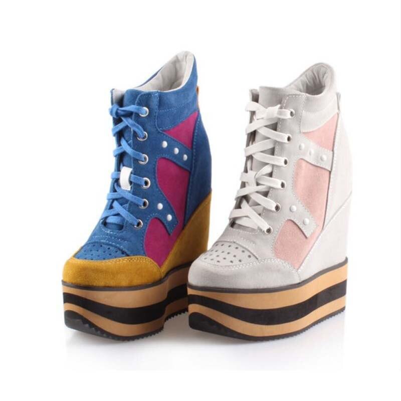 Высокая 17 см платформа скрытые клинья каблуки женщины лодыжки сапоги мода натуральной кожи замши заклепки дышащий высота увеличение обувь