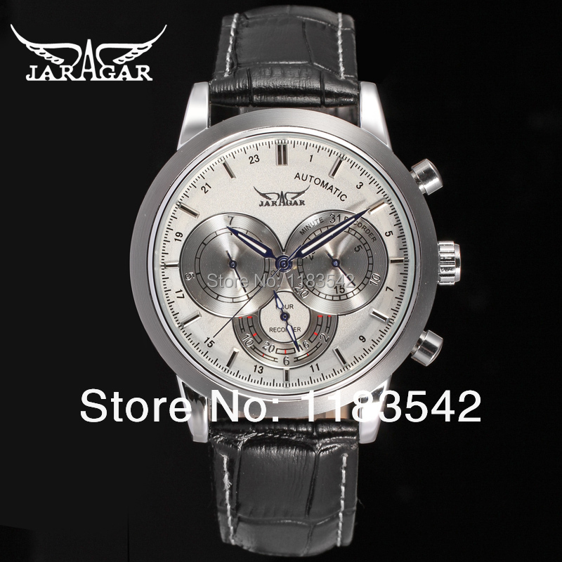 Подробнее о Jargar  new men Automatic  wristwatch silver color with black leather strap free shipping JAG6041M3S3 jargar jag6070m3s2 new men automatic fashion watch silver wristwatch for men with black leather strap best gift free ship