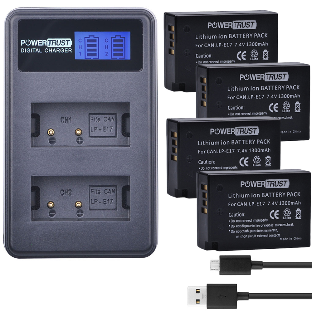4X LP-E17 LPE17 LP E17 Camera Batteries + LCD USB Dual Charger for Canon EOS M3 M5 M6 Rebel T6i T6s T7i 750D 760D 8000D Kiss X8i