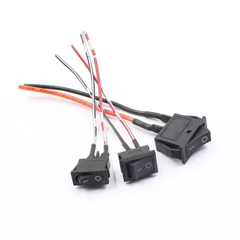 KELIMI Car Flat Slim Black Boat Rocker Button Power Switch 2pins 2 Pin 250V 6A 125V 10A 20A ON-OFF Switch