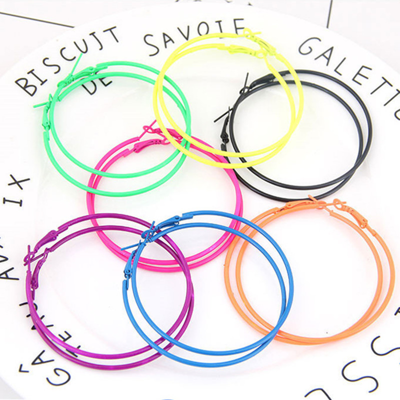 Kymyad Bohemia Big Hoop Earrings For Women 6cm Fluorescent Color Earings Fashion Jewelry Statement Earrings Fashion Jewelry