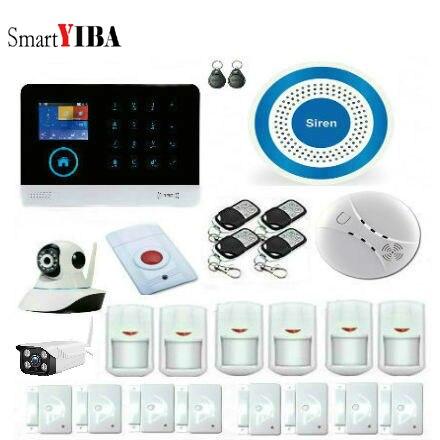 SmartYIBA APP Control WiFi 3G WCDMA RFID Wireless Smart Home Security Alarm System Smoke Fire Sensors With Video IP Camera