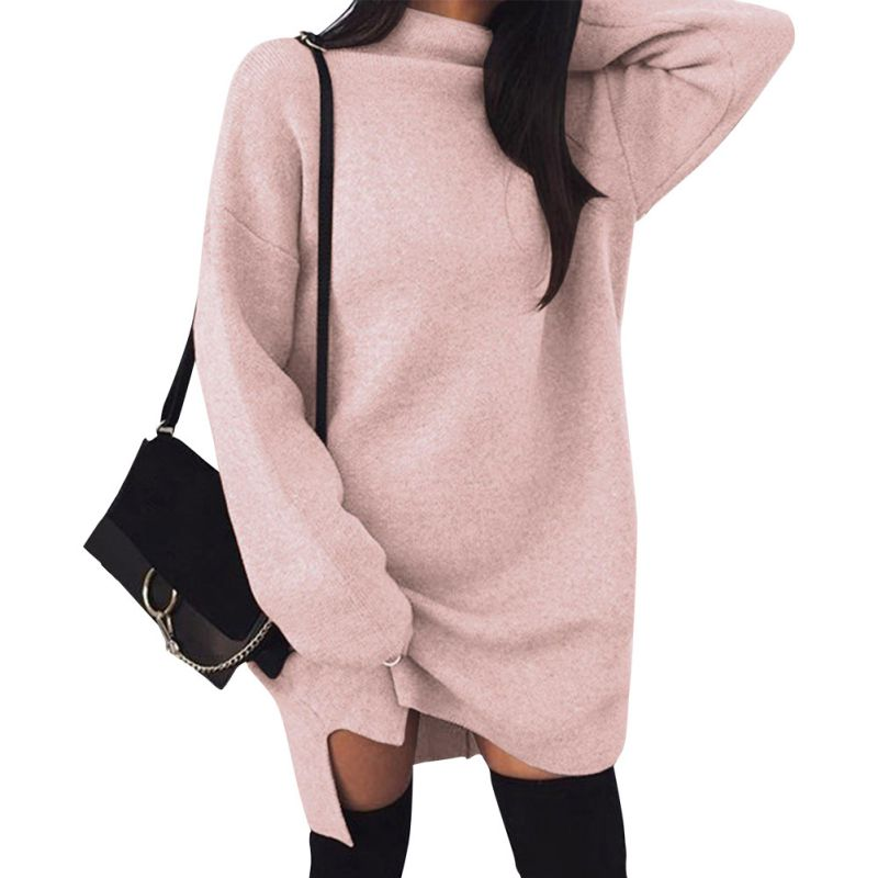 New Autumn Women Dress Black Pink Brown Grey European and American Casual Large size Loose Knit High collar Split Sexy dress F1