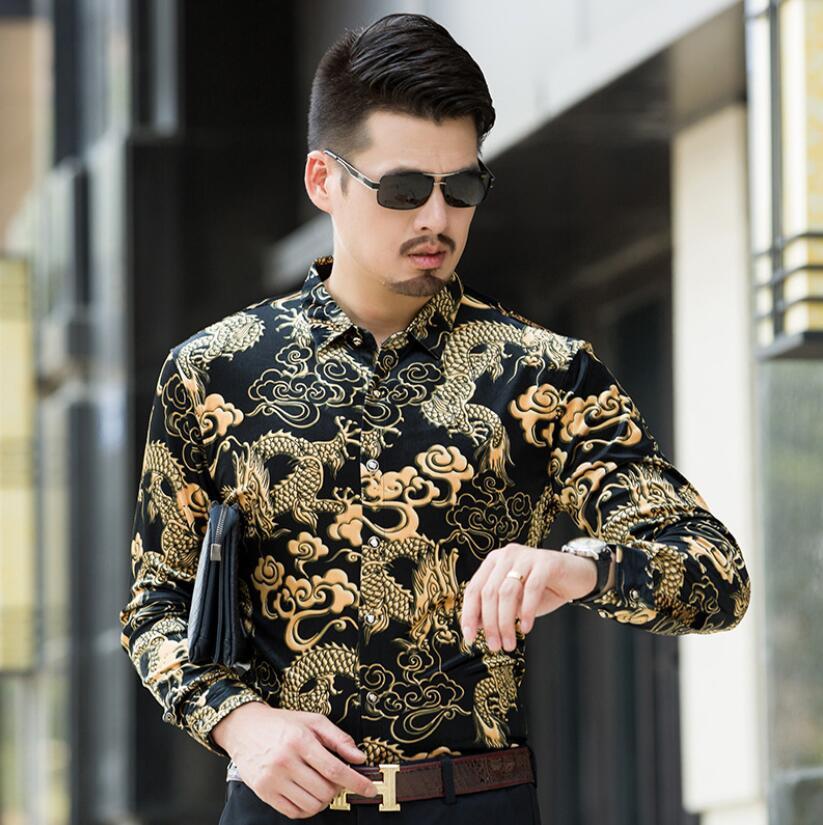 Mens Luxury New Homme highquality Fashion silk Black Golden Print Leopard shirts