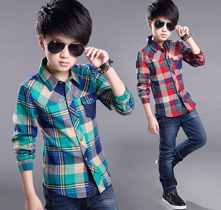 2016 Spring Summer Children Shirts Long-sleeve Plaid baby boys shirts cool top cotton casual Clothing fashion kids wear 4-14 Y