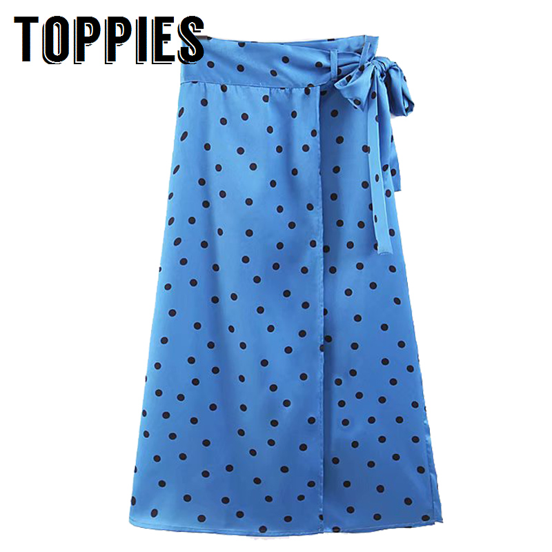2019 Women Summer Polka Dot Printing A-Line Midi Skirt Tie Waist Sexy Front Split Vacation Beach Skirt vacation