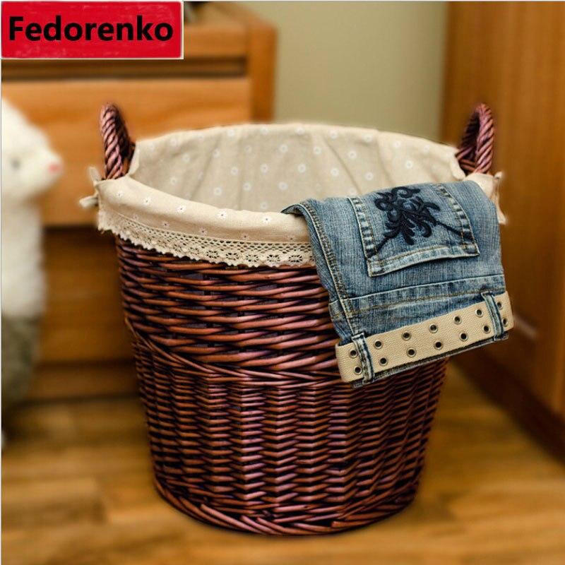 Panier à linge en osier tissé naturel fait à la main grand panier à linge pour tissu sale bébé grand linge enfants sale baril décoratif