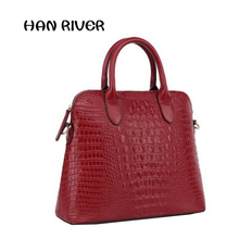 High quality of Fashion 2017  Crocodile women's genuine leather handbag shell bag handbag large bag women's bags messenger bag