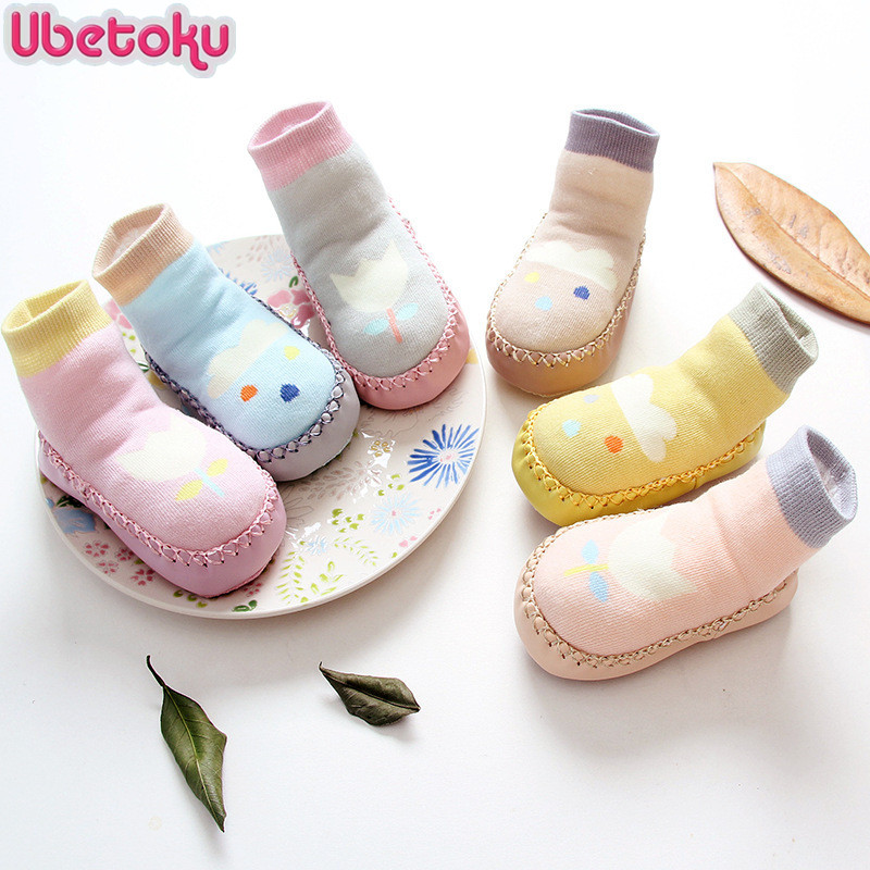 Ubetoku New spring summer baby flowers cotton socks childrens floor socks kids anti-skid socks baby shoes socks #425ssy