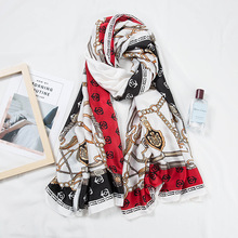 2019 Fashion Beach Shawls Scavesf For Women Printed Silk Neck Scarfs Female 180*90cm Long Stole Neckerchief Scarves Ladies