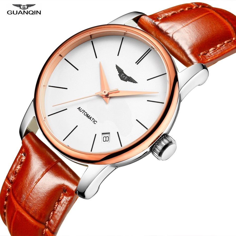 купить GUANQIN Women Watches Automatic Watch MIYOTA Movement 8200 Sapphire Leather Date Waterproof Mechanical Wristwatches Female Clock по цене 4504.83 рублей