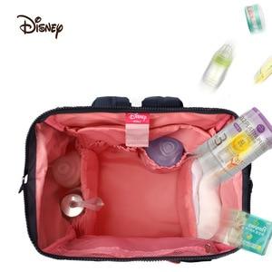 Image 4 - Disney Bolsa de pañales para mamá, calentador de botellas con USB, Minnie, Disney, mochila de viaje, impermeable