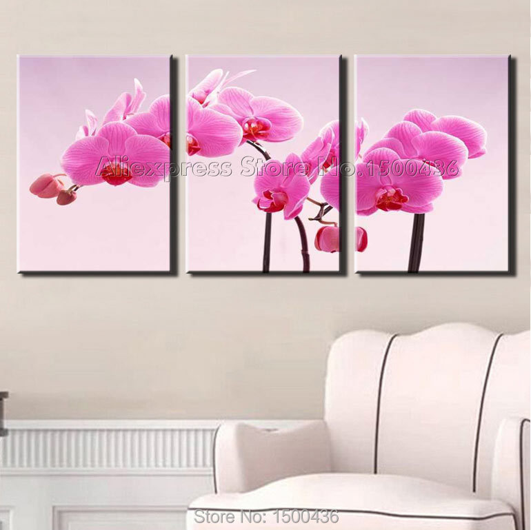 Hand painted realist pink flowers oil painting modern 3 panel orchid hand painted realist pink flowers oil painting modern 3 panel orchid wall art canvas abstract decoration home picture set in painting calligraphy from mightylinksfo Image collections