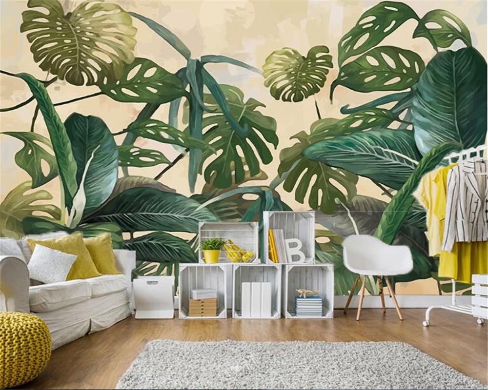 Beibehang Retro Moda Pano De Seda Papel De Parede Floresta Tropical  -> Papel De Parede Para Sala Folhas